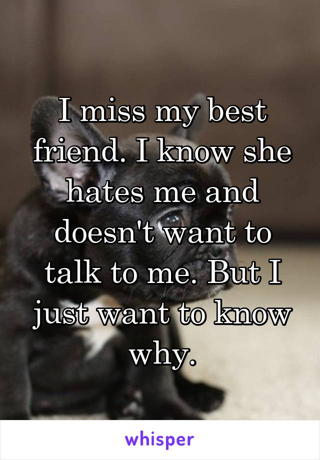 I miss my best friend. I know she hates me and doesn't want to talk to me. But I just want to know why.