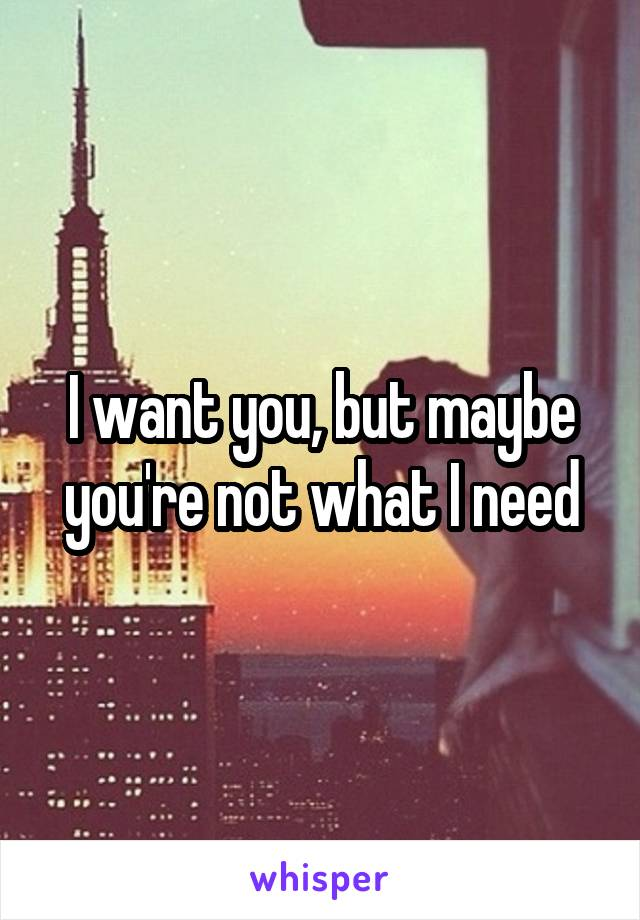 I want you, but maybe you're not what I need