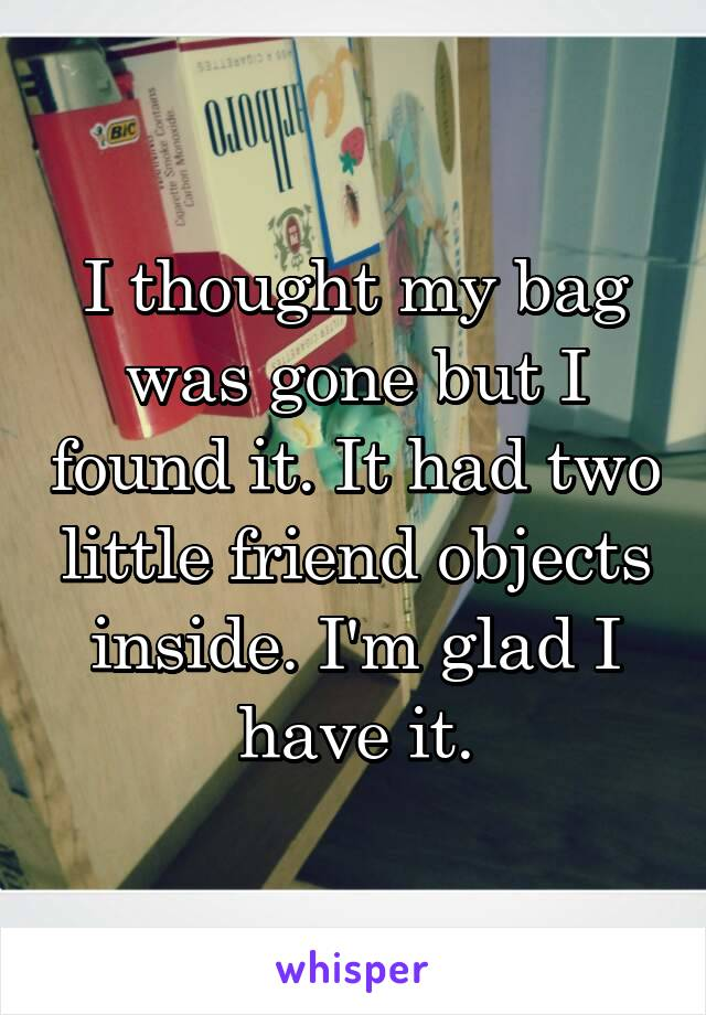 I thought my bag was gone but I found it. It had two little friend objects inside. I'm glad I have it.