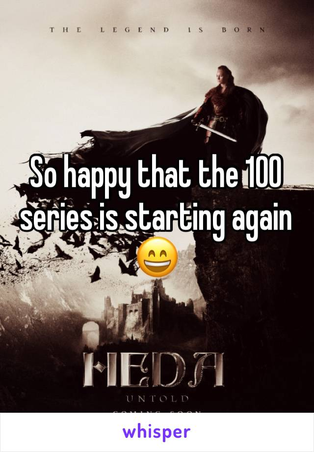So happy that the 100 series is starting again 😄