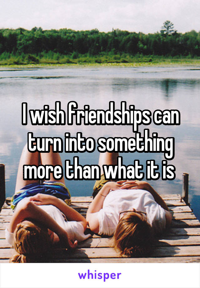 I wish friendships can turn into something more than what it is