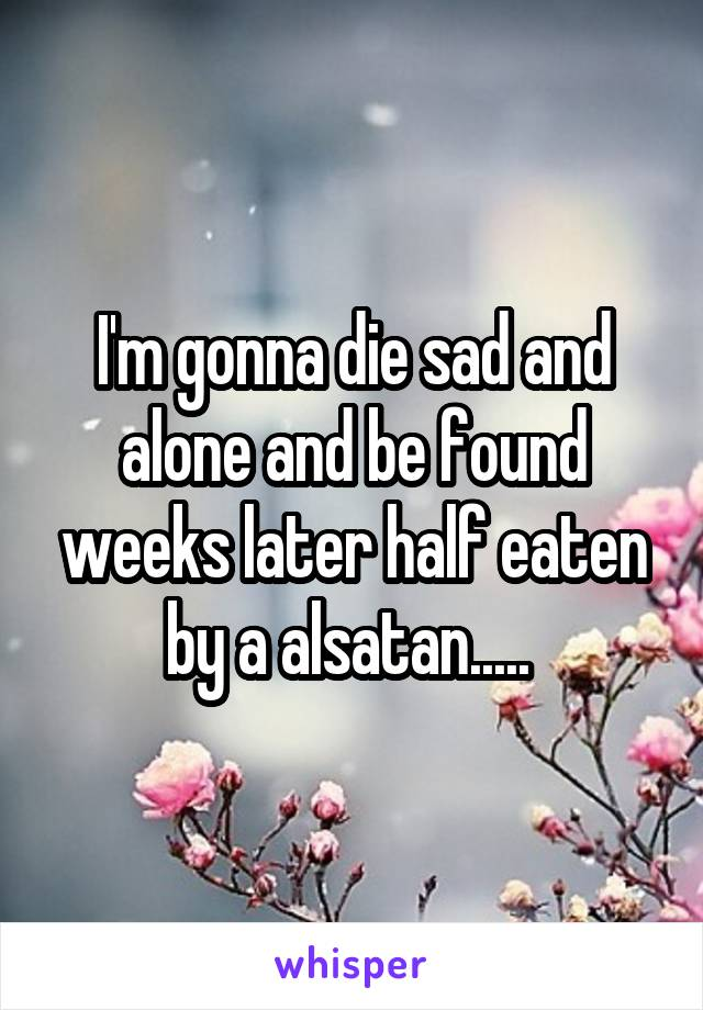 I'm gonna die sad and alone and be found weeks later half eaten by a alsatan.....
