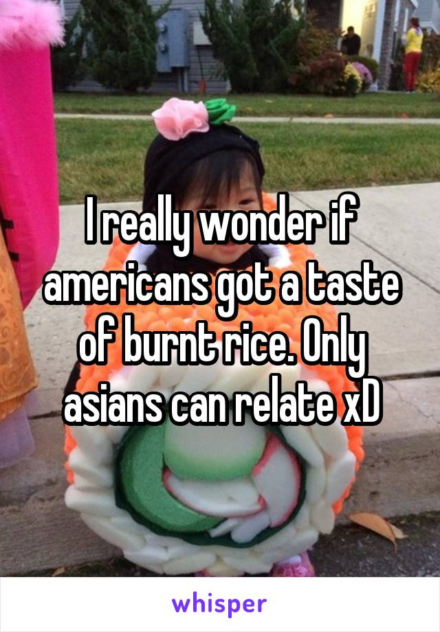 I really wonder if americans got a taste of burnt rice. Only asians can relate xD