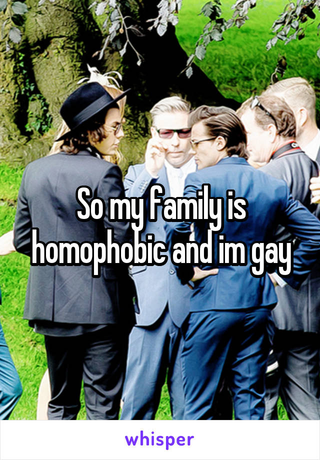 So my family is homophobic and im gay