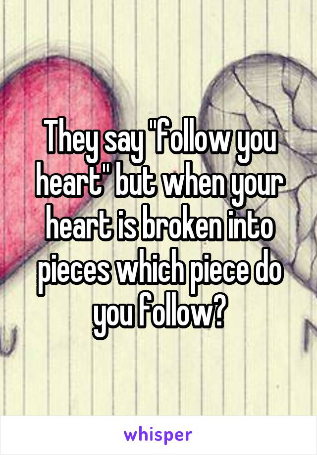 """They say """"follow you heart"""" but when your heart is broken into pieces which piece do you follow?"""