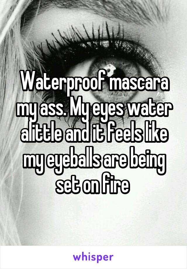 Waterproof mascara my ass. My eyes water alittle and it feels like my eyeballs are being set on fire