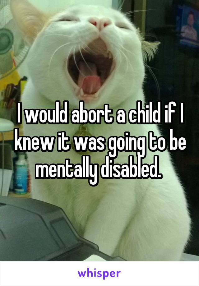 I would abort a child if I knew it was going to be mentally disabled.