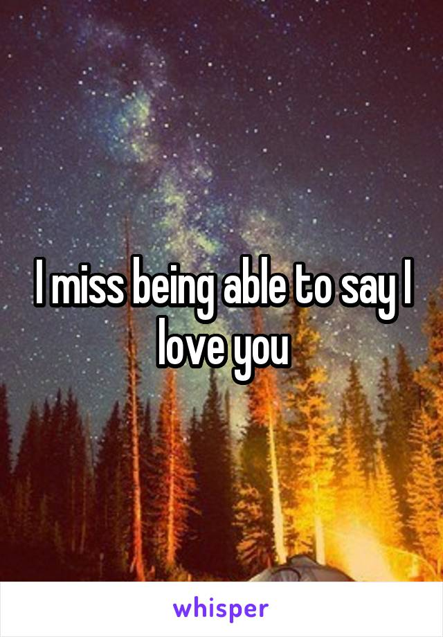 I miss being able to say I love you