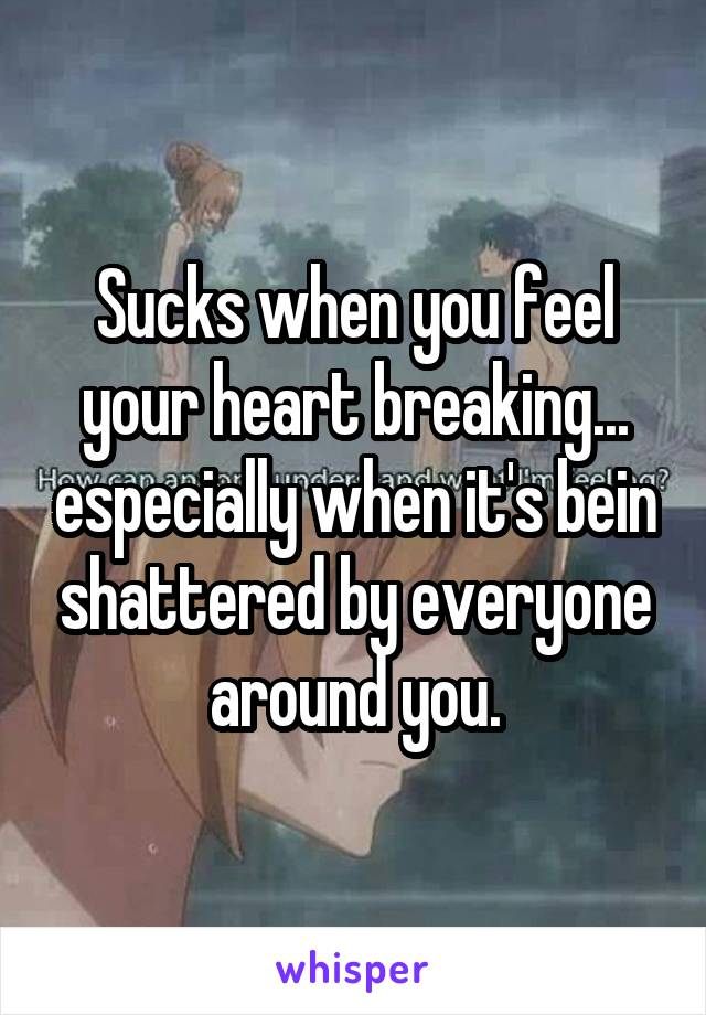 Sucks when you feel your heart breaking... especially when it's bein shattered by everyone around you.