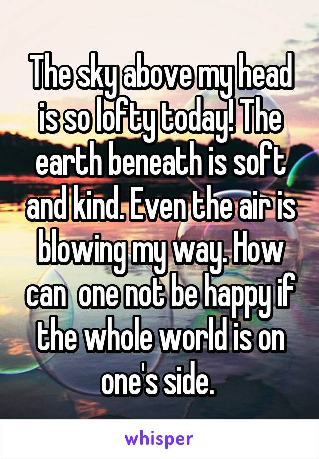 The sky above my head is so lofty today! The earth beneath is soft and kind. Even the air is blowing my way. How can  one not be happy if the whole world is on one's side.
