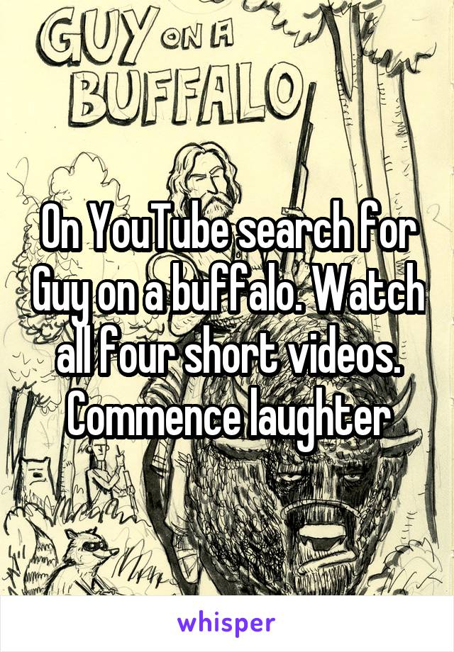 On YouTube search for Guy on a buffalo. Watch all four short videos. Commence laughter