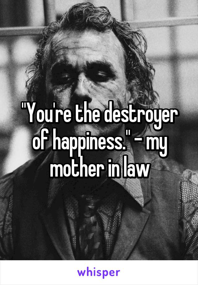 """""""You're the destroyer of happiness."""" - my mother in law"""