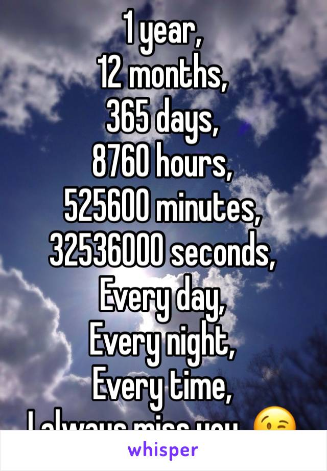 1 year, 12 months, 365 days, 8760 hours, 525600 minutes, 32536000 seconds,  Every day, Every night, ...