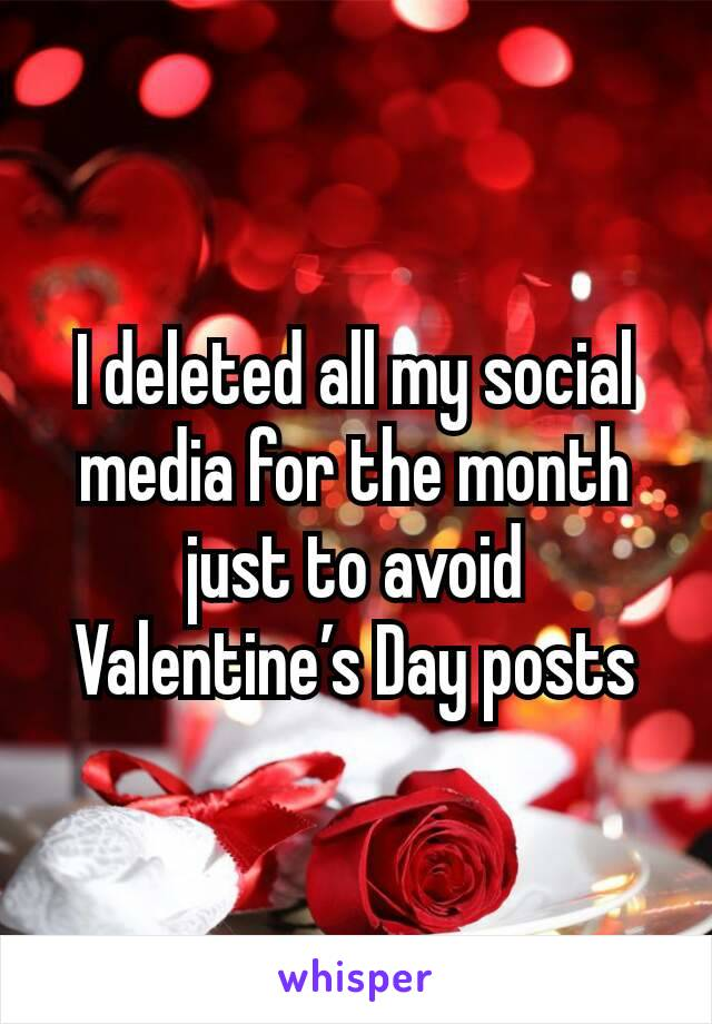 I deleted all my social media for the month just to avoid Valentine's Day posts