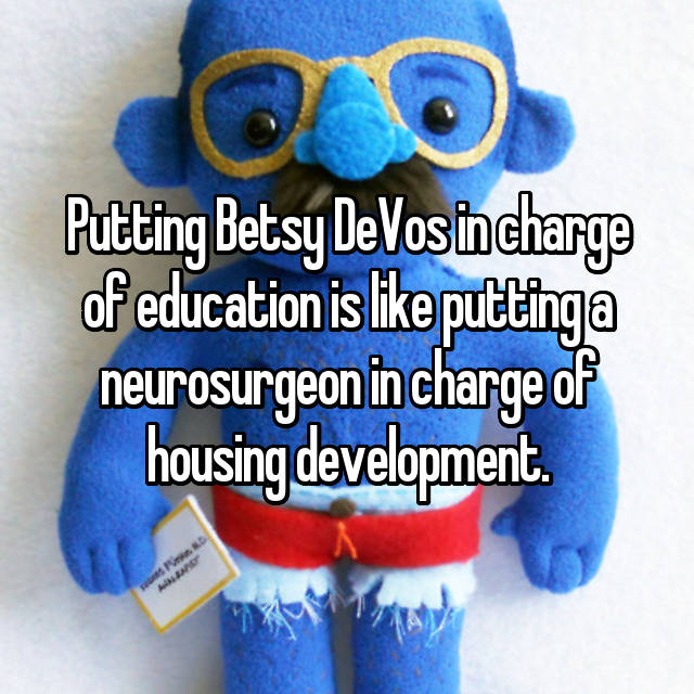 Putting Betsy DeVos in charge of education is like putting a neurosurgeon in charge of housing development.