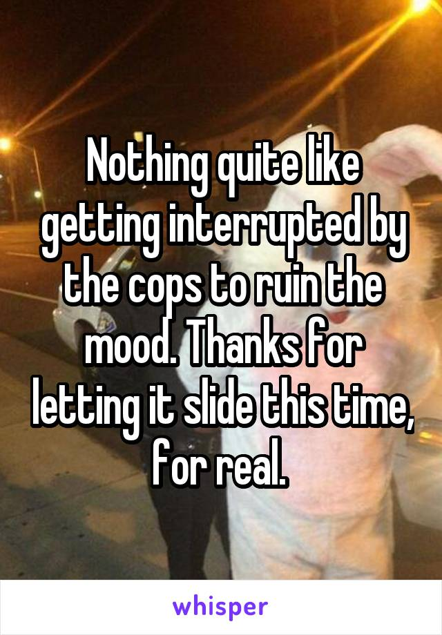 Nothing quite like getting interrupted by the cops to ruin the mood. Thanks for letting it slide this time, for real.