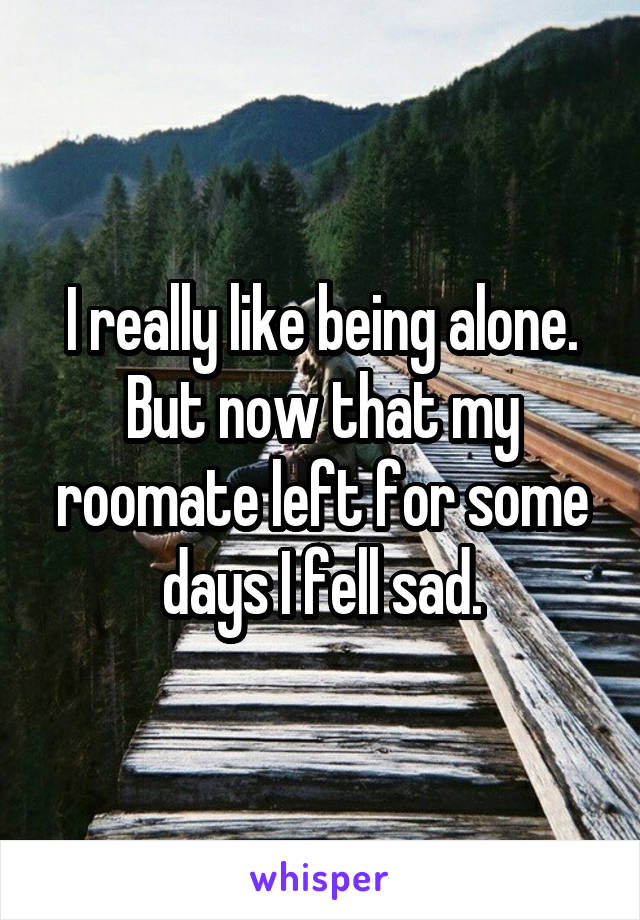 I really like being alone. But now that my roomate left for some days I fell sad.
