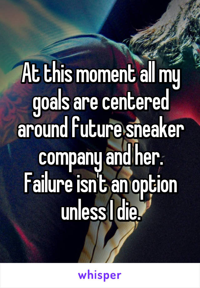 At this moment all my goals are centered around future sneaker company and her. Failure isn't an option unless I die.
