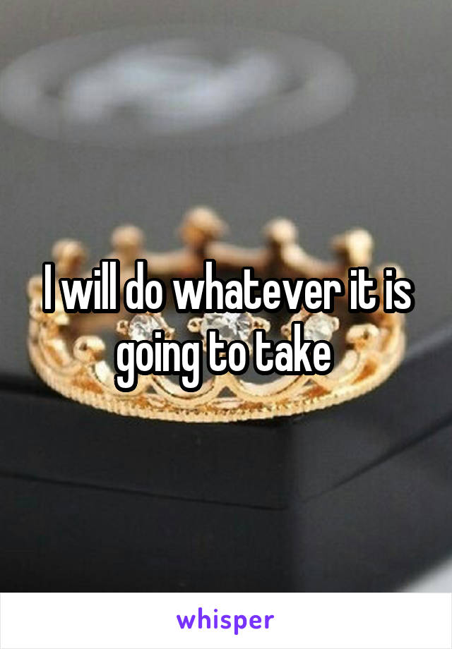 I will do whatever it is going to take