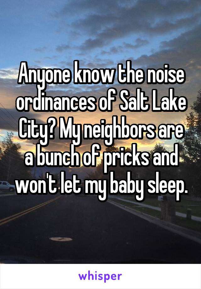 Anyone know the noise ordinances of Salt Lake City? My neighbors are a bunch of pricks and won't let my baby sleep.