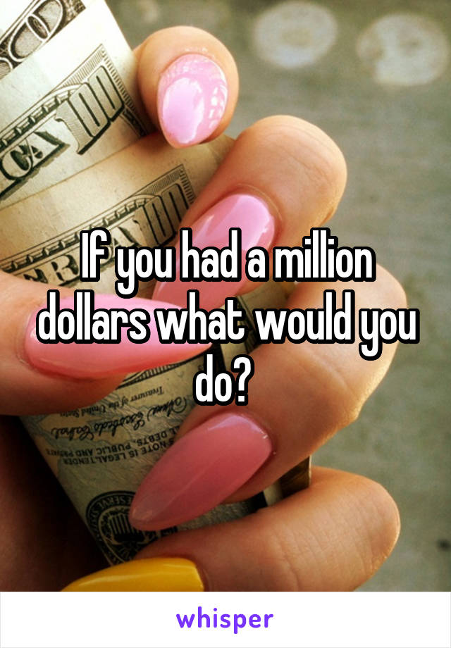 If you had a million dollars what would you do?