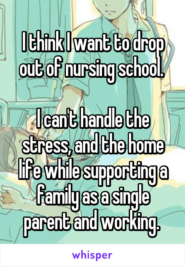I think I want to drop out of nursing school.   I can't handle the stress, and the home life while supporting a family as a single parent and working.