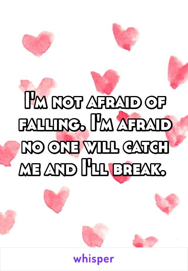I'm not afraid of falling. I'm afraid no one will catch me and I'll break.