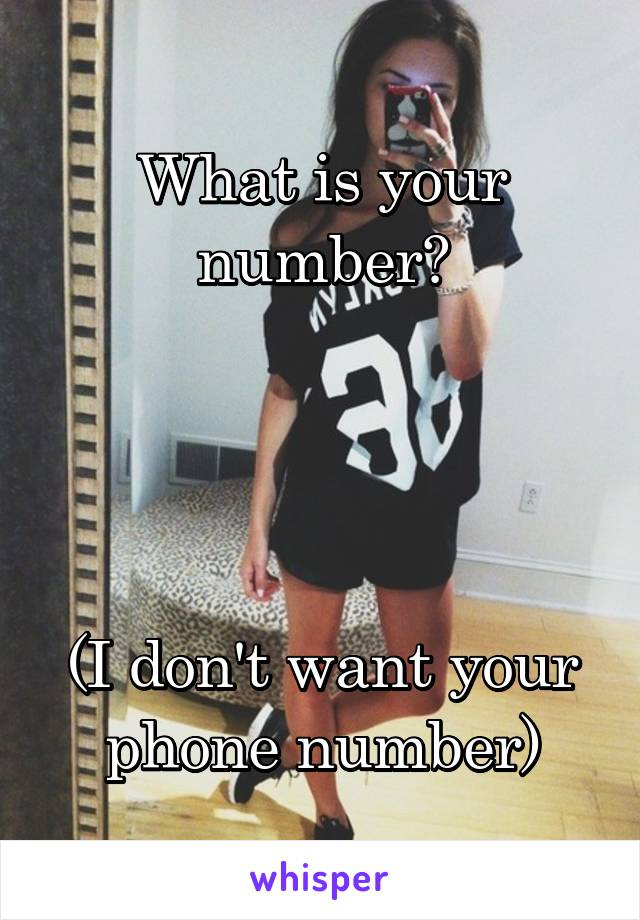What is your number?     (I don't want your phone number)