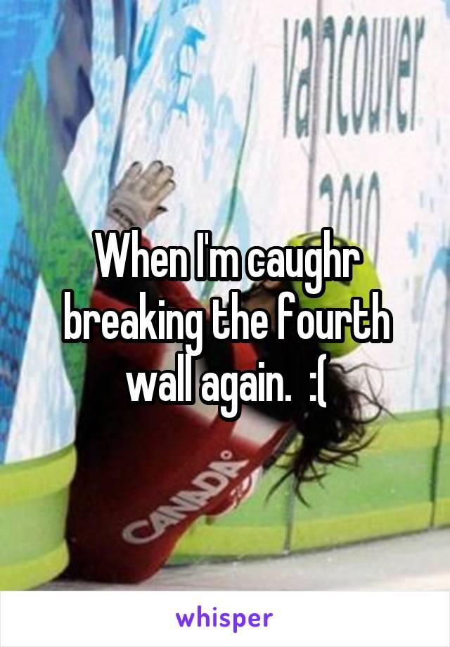 When I'm caughr breaking the fourth wall again.  :(