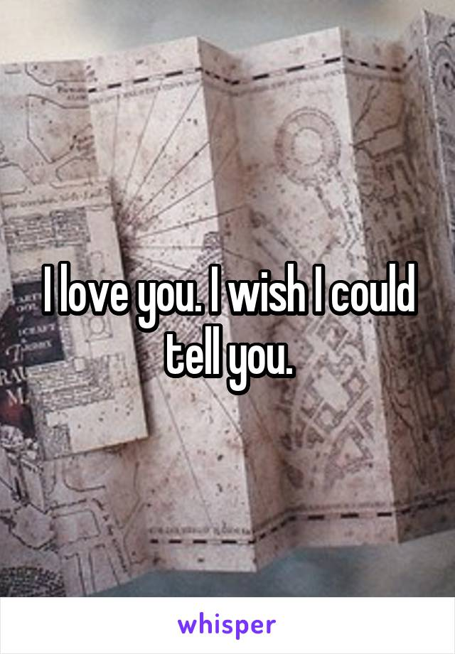 I love you. I wish I could tell you.