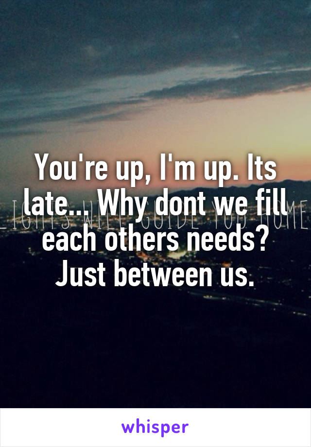 You're up, I'm up. Its late... Why dont we fill each others needs? Just between us.