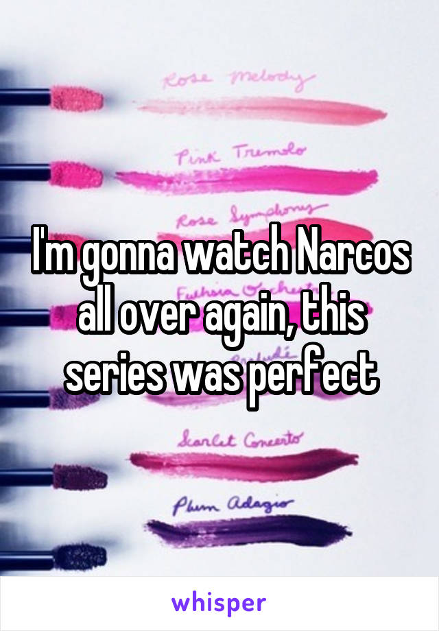 I'm gonna watch Narcos all over again, this series was perfect