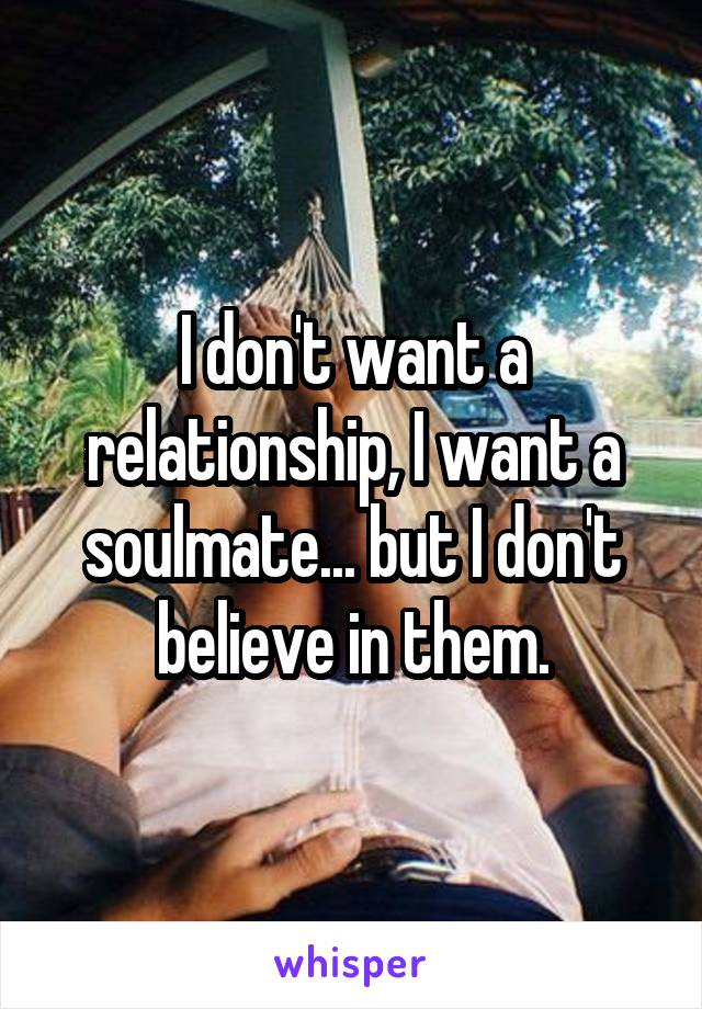 I don't want a relationship, I want a soulmate... but I don't believe in them.