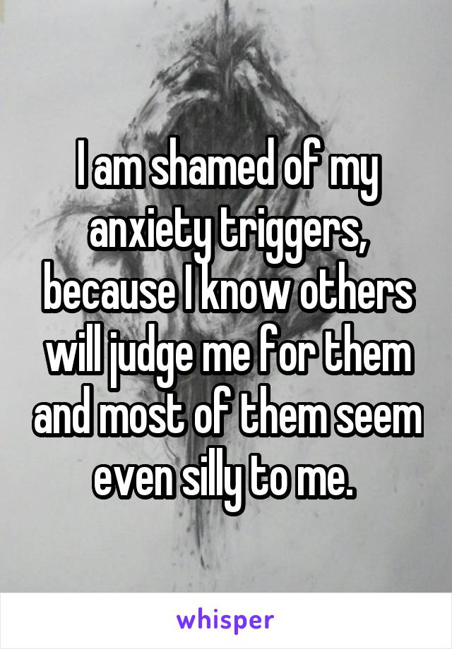 I am shamed of my anxiety triggers, because I know others will judge me for them and most of them seem even silly to me.