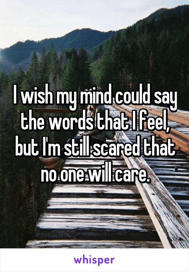 I wish my mind could say the words that I feel, but I'm still scared that no one will care.