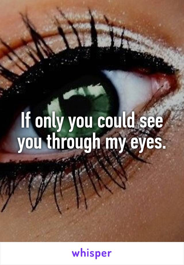 If only you could see you through my eyes.