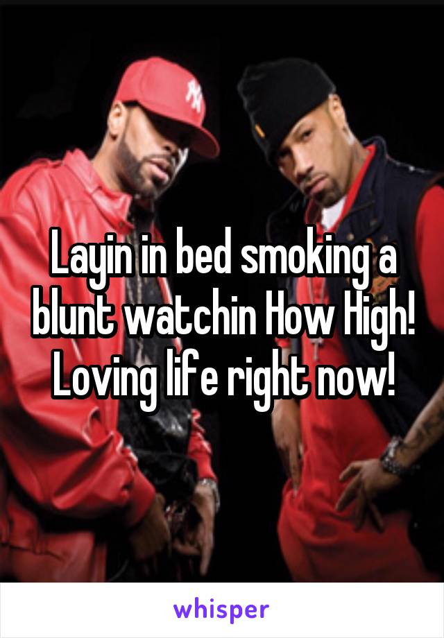 Layin in bed smoking a blunt watchin How High! Loving life right now!