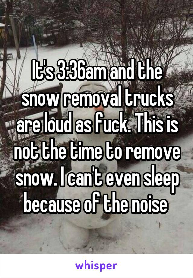 It's 3:36am and the snow removal trucks are loud as fuck. This is not the time to remove snow. I can't even sleep because of the noise