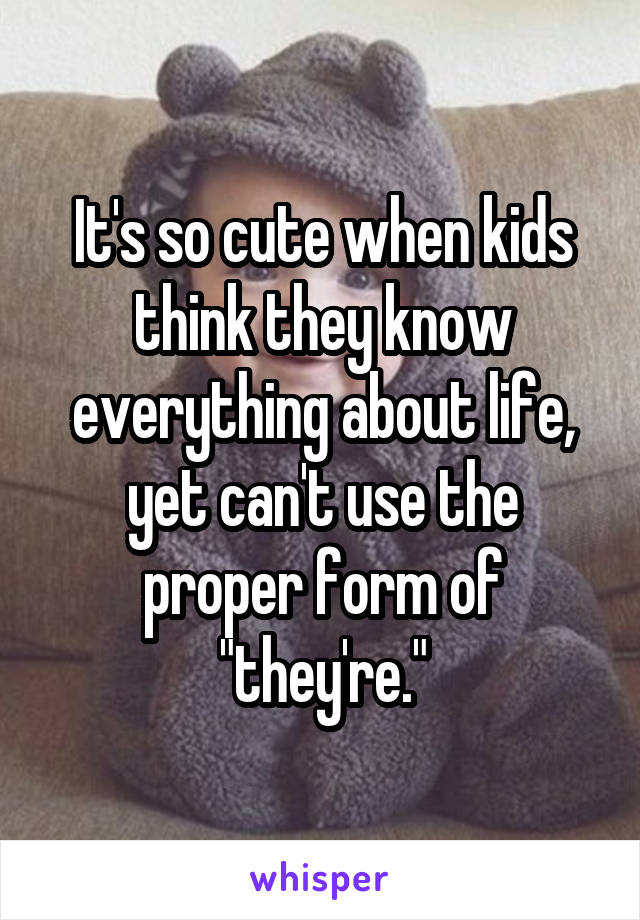 """It's so cute when kids think they know everything about life, yet can't use the proper form of """"they're."""""""