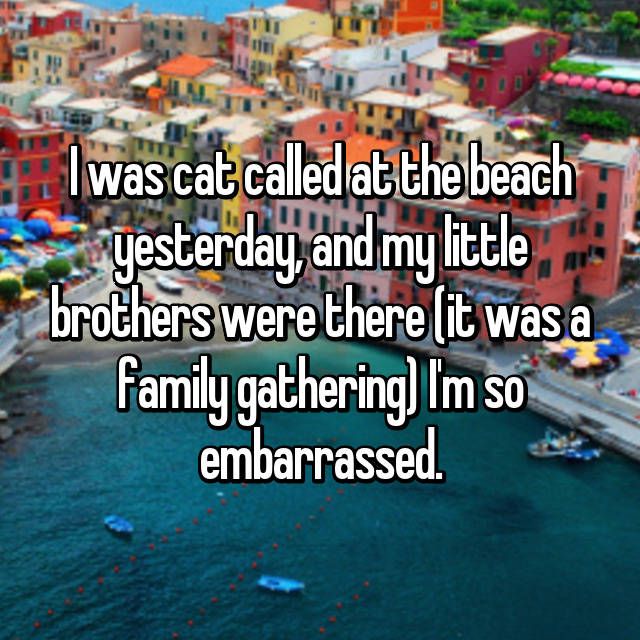 I was cat called at the beach yesterday, and my little brothers were there (it was a family gathering) I'm so embarrassed.