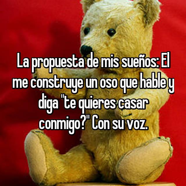 """La propuesta de mis sueños: El me construye un oso que hable y diga """"te quieres casar conmigo?"""" Con su voz."""