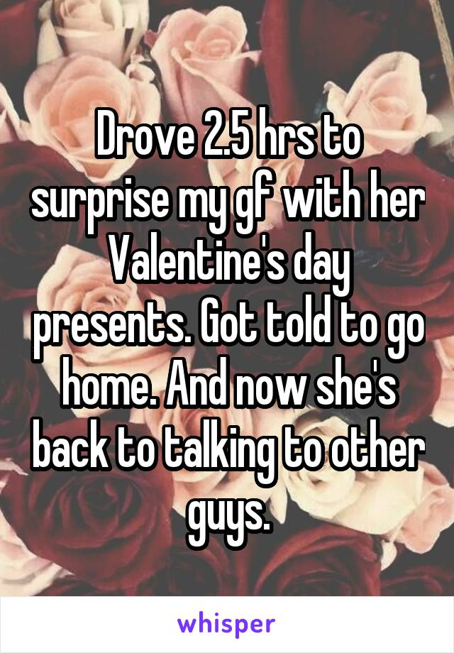 Drove 2.5 hrs to surprise my gf with her Valentine's day presents. Got told to go home. And now she's back to talking to other guys.