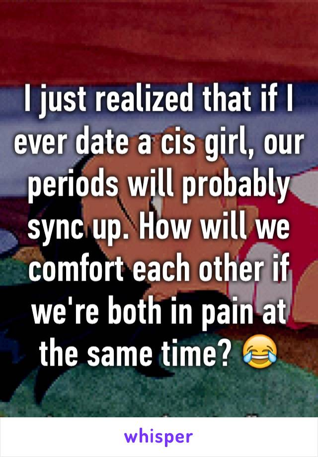 I just realized that if I ever date a cis girl, our periods will probably sync up. How will we comfort each other if we're both in pain at the same time? 😂