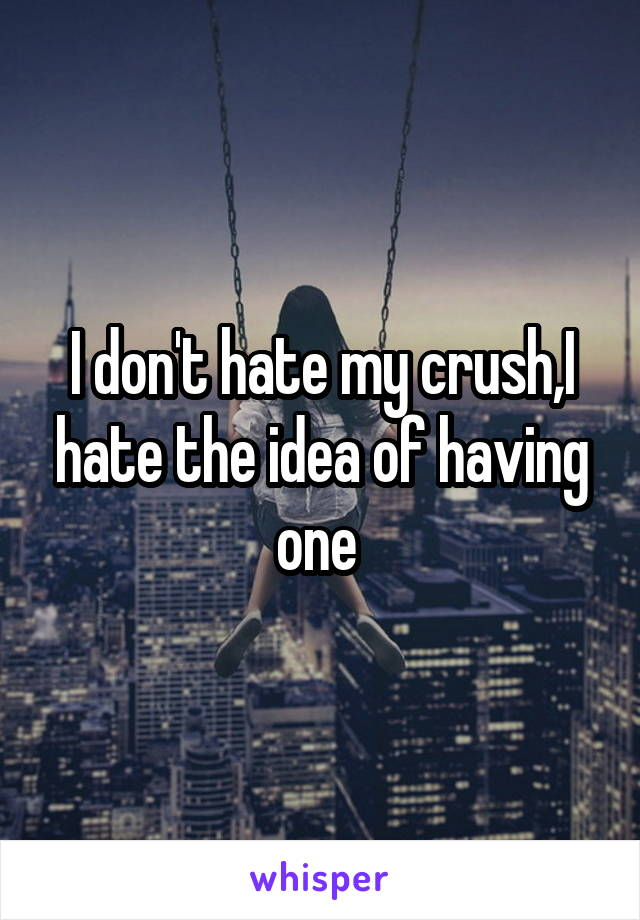 I don't hate my crush,I hate the idea of having one