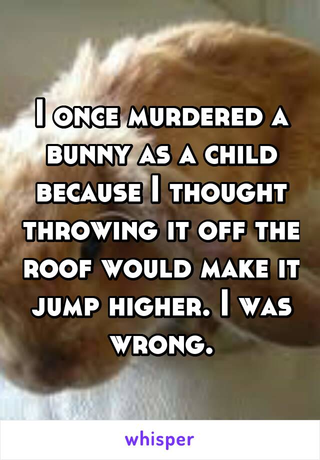 I once murdered a bunny as a child because I thought throwing it off the roof would make it jump higher. I was wrong.
