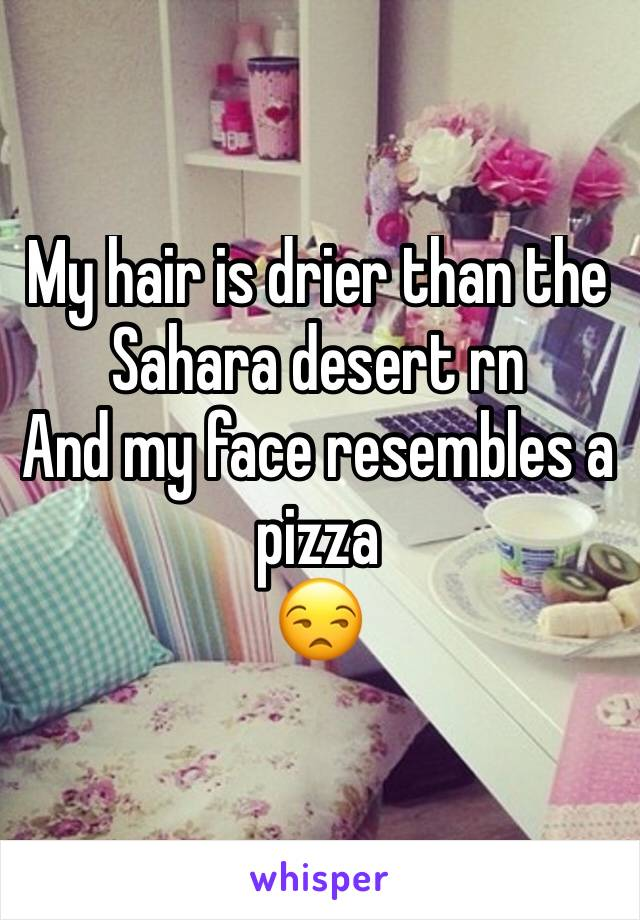 My hair is drier than the Sahara desert rn  And my face resembles a pizza  😒