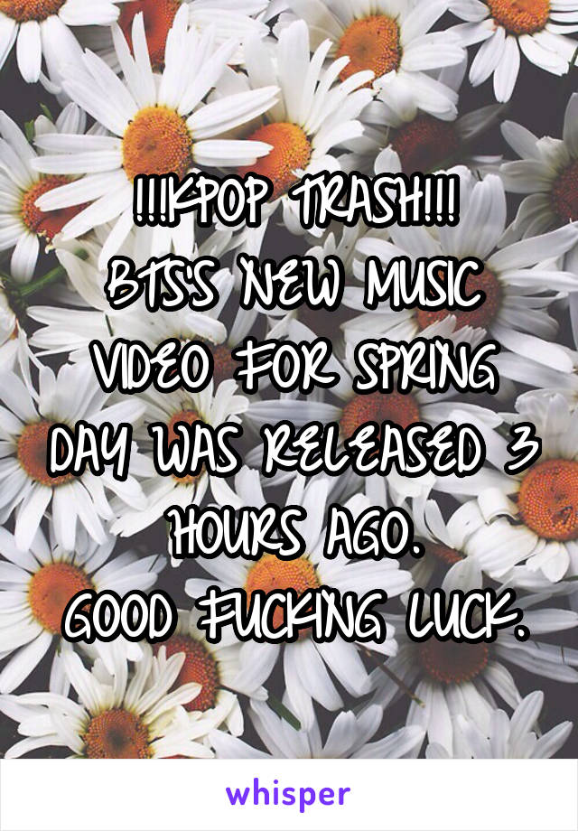 !!!KPOP TRASH!!! BTS'S NEW MUSIC VIDEO FOR SPRING DAY WAS RELEASED 3 HOURS AGO. GOOD FUCKING LUCK.
