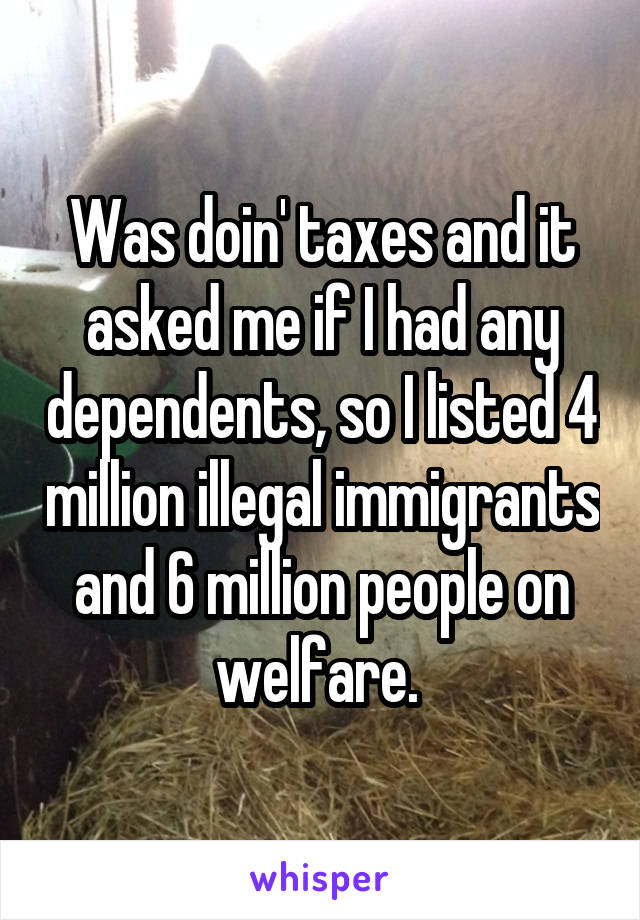 Was doin' taxes and it asked me if I had any dependents, so I listed 4 million illegal immigrants and 6 million people on welfare.