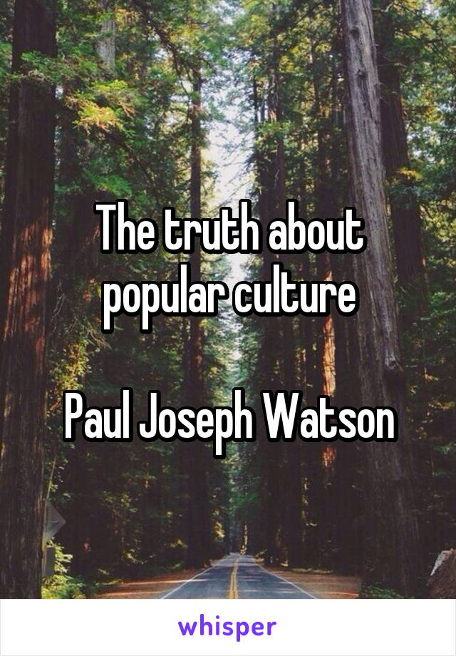 The truth about popular culture  Paul Joseph Watson