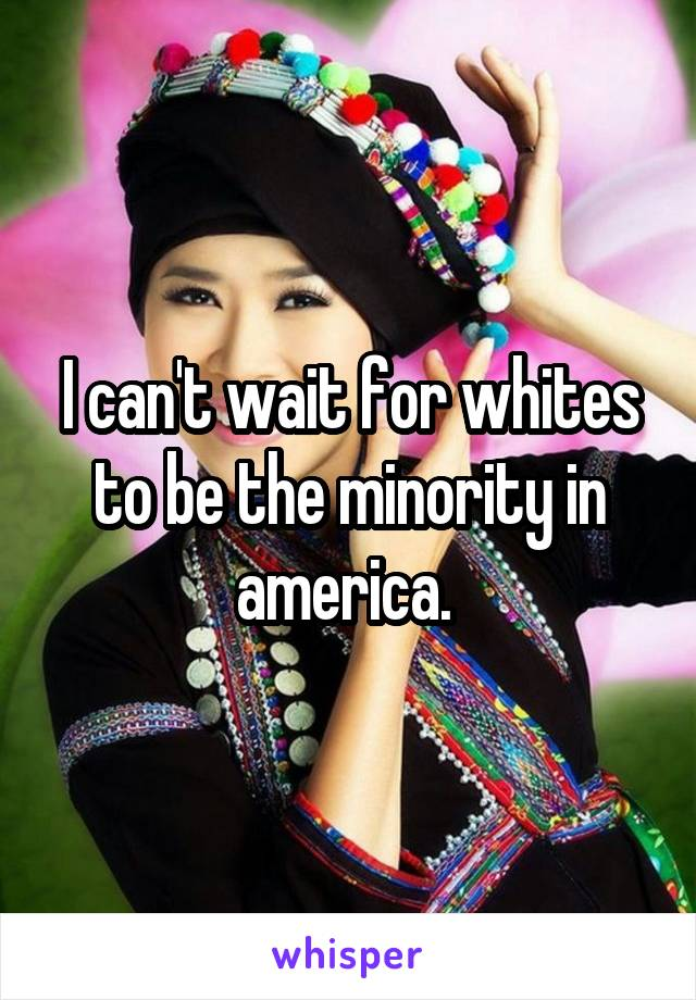 I can't wait for whites to be the minority in america.
